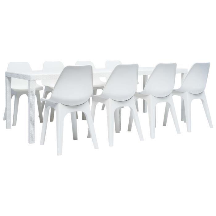 Table De Jardin Et 8 Chaises Plastique Achat Vente Pas Cher