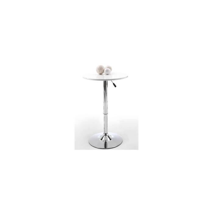Table de bar r glable blanc laqu pub blanc achat - Table de bar blanc laque ...