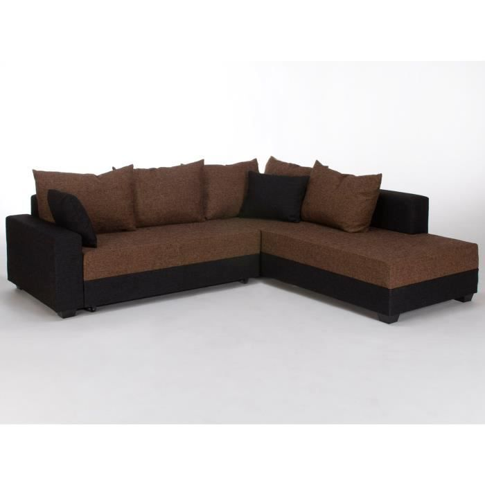 canap lit d 39 angle canberra en tissu noir et marron massivum achat vente canap sofa. Black Bedroom Furniture Sets. Home Design Ideas