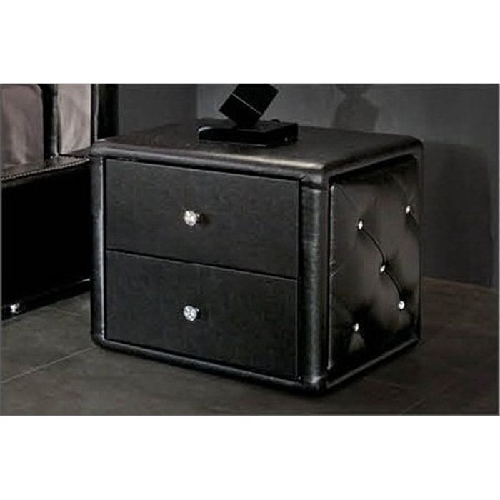 Table de chevet design noir capitonnee achat vente for Table de chevet noire