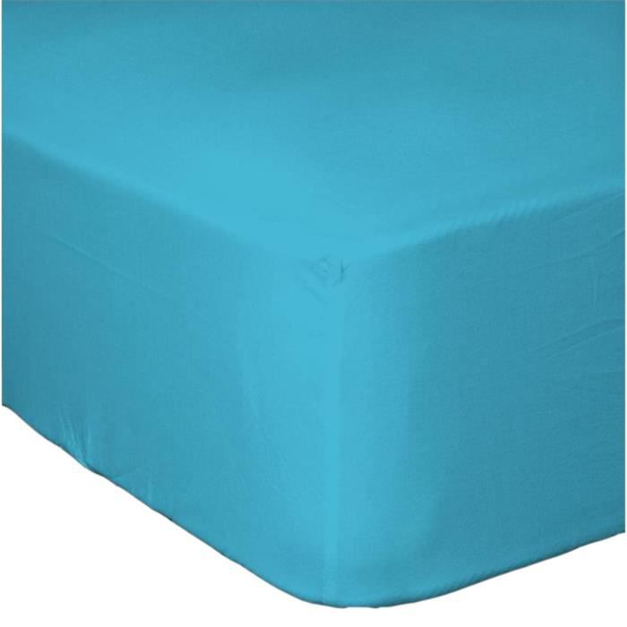 drap housse grand bonnet turquoise achat vente drap housse cdiscount. Black Bedroom Furniture Sets. Home Design Ideas