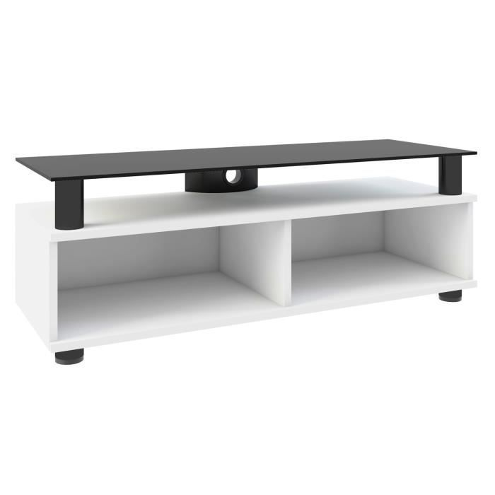 clano meuble tv hifi vid o rangement 95 cm avec support verre noir porte blanc l vcm meuble tv. Black Bedroom Furniture Sets. Home Design Ideas
