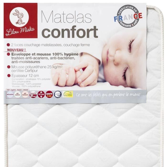 MATELAS BÉBÉ LILOU MIAKA - Matelas bébé 25kg/m3 Confort - pour