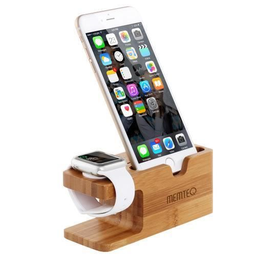 memteq iphone apple watch support t l phone portable bureau fixation bambou 6 6plus 5s 5c 5 4s 4. Black Bedroom Furniture Sets. Home Design Ideas