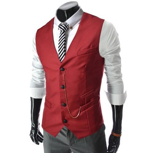 homme veste costume veste gilet rouge achat vente gilet de costume cdiscount. Black Bedroom Furniture Sets. Home Design Ideas
