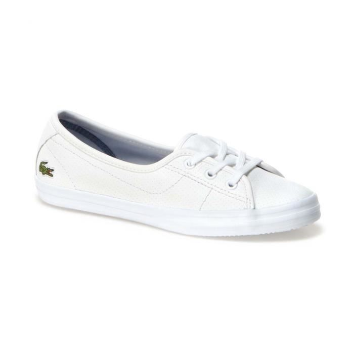 Lacoste ziane Blanc - Chaussures Baskets basses Femme