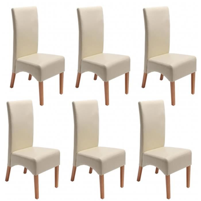 lot de 6 chaises de salle manger fauteuil inclinable latina en cuir coloris cr me achat. Black Bedroom Furniture Sets. Home Design Ideas