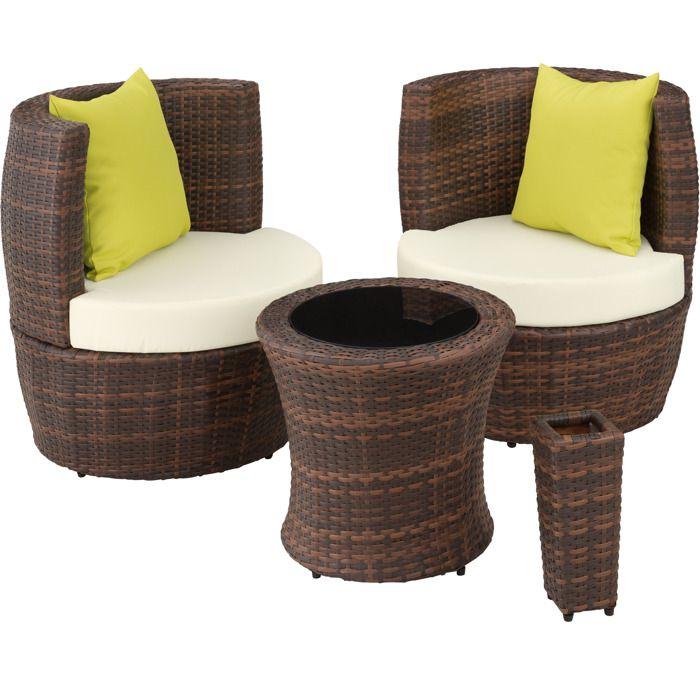 Salon de jardin resine tressee avec fauteuils encastrables