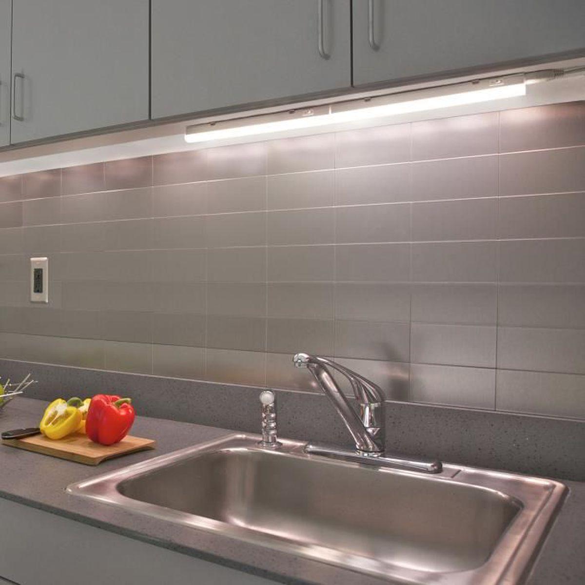 Eclairage Sous Meuble Cuisine Sans Interrupteur lampe reglette a led de barre plan de travail sous meuble cuisine led 5w  avec interrupteur longueur 313mm connectable lot 2 lampes