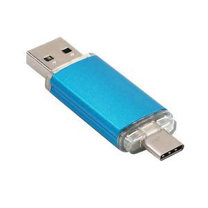 CLÉ USB Disque U double usage bleu pour ordinateur portabl