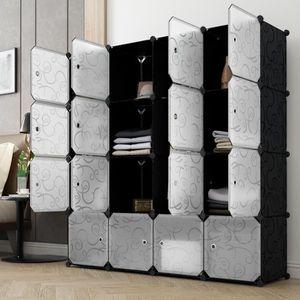 ARMOIRE DE CHAMBRE Armoire de Rangement 16 Cubes LANGRIA DIY Armoire