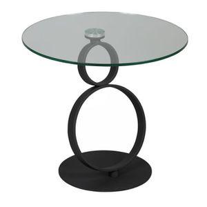 TABLE D'APPOINT Guéridon rond Métal/Verre - STRATUS - L 60 x l 60