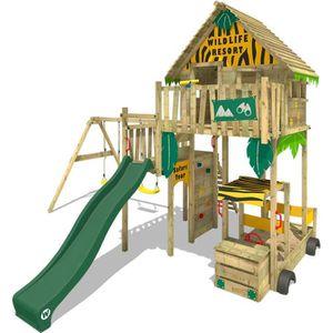STATION DE JEUX Aire de jeux WICKEY Explore Cabane en bois sur pil