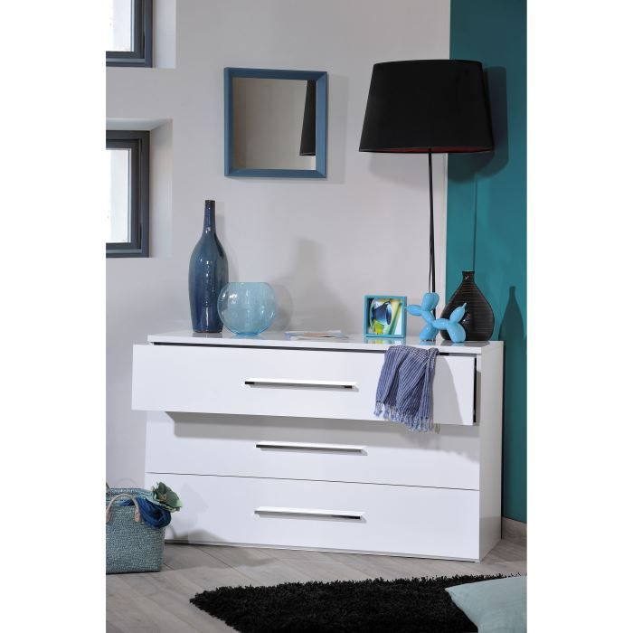 first commode 3 tiroirs laqu blanc achat vente commode de chambre first commode laqu e. Black Bedroom Furniture Sets. Home Design Ideas