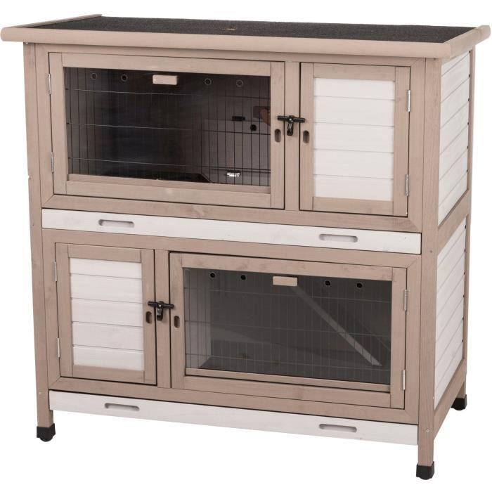 TRIXIE Clapier avec isolation Natural - 2 étages - 116 x 113 x 65 cm - Gris - Pour rongeur et lapin