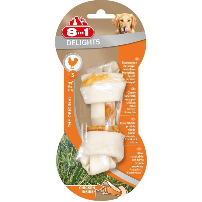 8in1 Os à mâcher au poulet Delights S - Pour chien - Carton de 6 sachets
