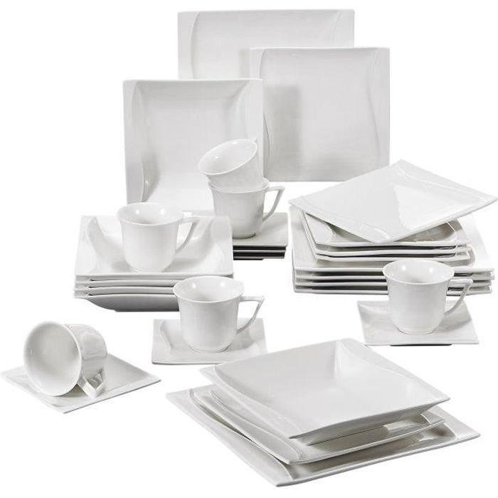 Malacasa Série Carina 30pcs Service de Table Porcelaine 6 Tasses à Café 6 Sous-tasse 6 Assiette à Dessert 6 Creuses 6 Plates