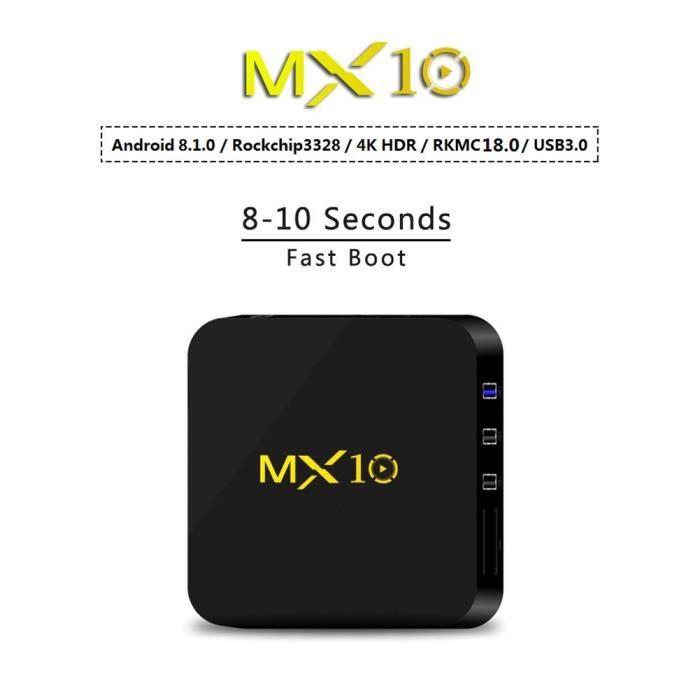 MX10 Android 8.1.0 RK3328 Boîtier Smart TV quadricœur 4K H.265 4G + 32G Wi-Fi Bluetooth Box décodeur Lecteur multimédia