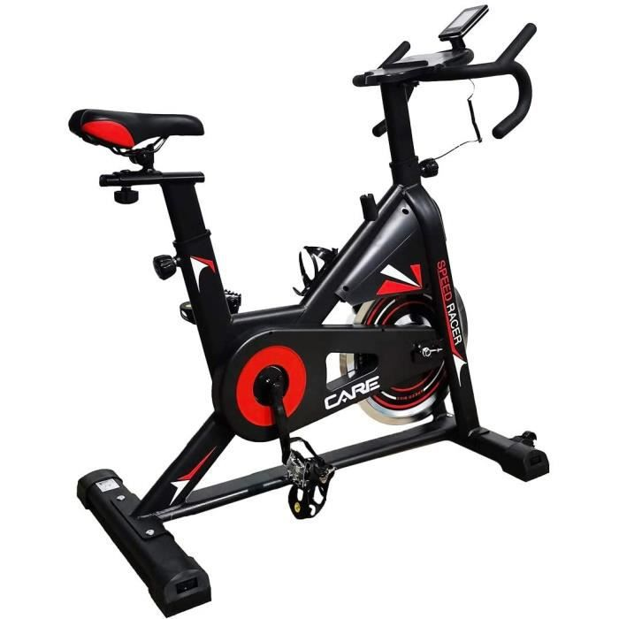 CARE FITNESS - Vélo d'Appartement Spin-Bike Speed Racer - 6 Fonctions - Masse d'Inertie 12 kg - Freinage par Patins - Vélo de Biking