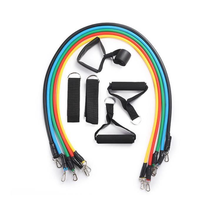 11 pièces de résistance élastique bande d'entraînement Yoga exercice Fitness bande corde entraînement Fitness équipement