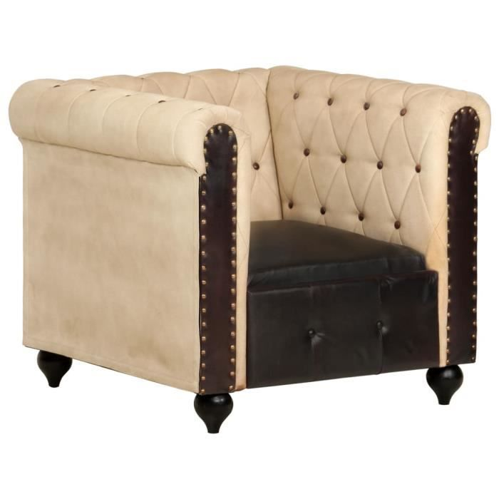 WIPES Fauteuil Chesterfield Marron Cuir véritable