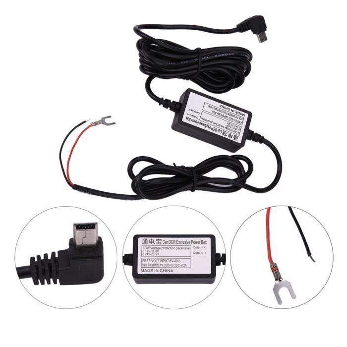 DC 12 V vers 5 V 2 A 3 m Chargeur de Voiture câble Mini USB Chargeur Cordon Hardwire Kit de Chargement Automatique pour Dash Cam cam