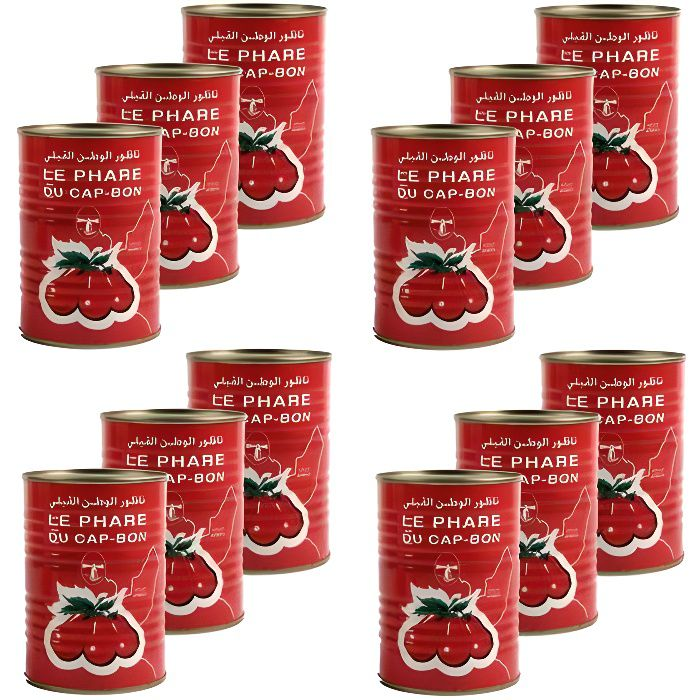 Lot 12X Double concentré de tomate - Le Phare du Cap Bon - conserve 400g (1-2)