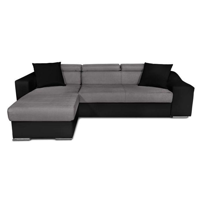 Canapé d'Angle ELONA Convertible en Microfibre et Simili Noir-Gris