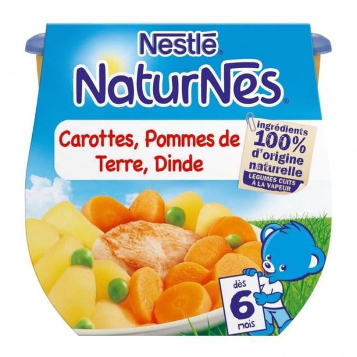 Nestlé Naturnes Carottes Pommes de Terre Dinde (dès 6 mois) par 2 pots de 200g (lot de 6 soit 12 pot