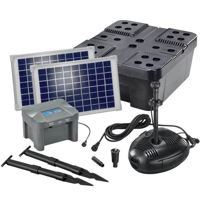 Kit filtre solaire bassin 20/630 + batterie Filtre pompe solaire bassin jardin esotec 101073