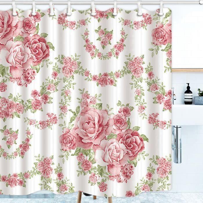 Rideau de Douche Imperméable Anti-moisissure 180X180cm + 12 Anneaux de Rideaux Roses Fleur Sh07582