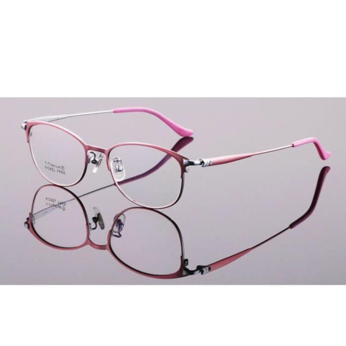 Montures de Lunettes de vue,Monture de lunettes en titane pur pour femmes Lunettes rondes, monture de lunettes - Type Rose