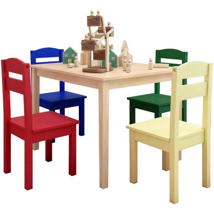 Ensemble de Table et 4 Chaises pour Enfants, Meuble Multifonctionnel en Bois et MDF de 4 Places, Hauteur Convenable et Stable, pour
