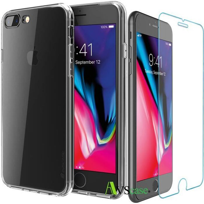Pack iPhone 8 Plus - Coque Silicone + Verre Trempé - AVSCASE