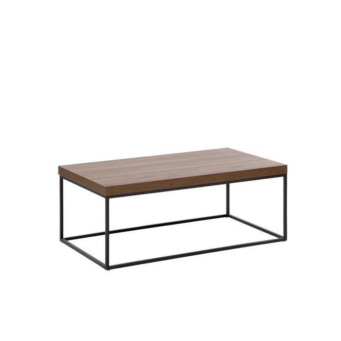 Table basse effet bois foncé et noire DELANO
