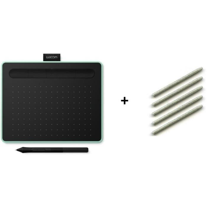 PACK WACOM : Tablette Graphique Intuos S Bluetooth - Pistachio + Stylet feutre 5 pointes ACK-20003