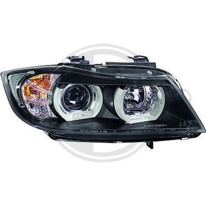 Paire de feux phares BMW serie 3 E90 berline 05-08 angel eyes noir (686)