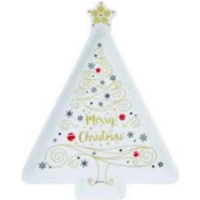 EASY LIFE Plat 21X16 forme sapin MERRY CHRISTMAS
