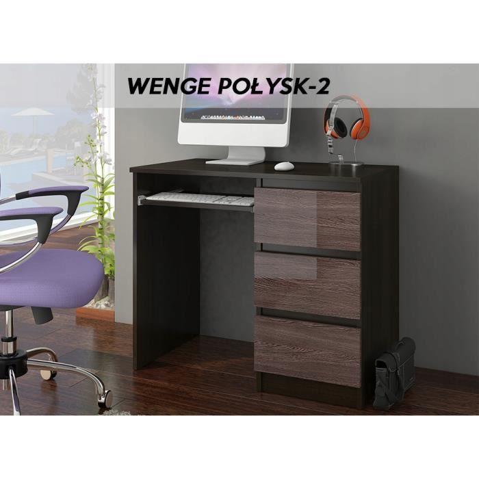 YORK 2WR- Bureau moderne informatique d'ordinateur 96x50x76 - Chambre Ado - Support clavier-3 tiroirs - Wengé