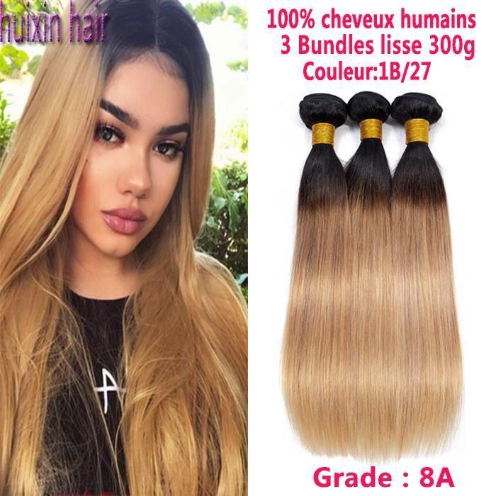 3 Tissage Lisse Cheveux humains Ombre 1B-27 Couleur Straight 22 22 24 Pouces