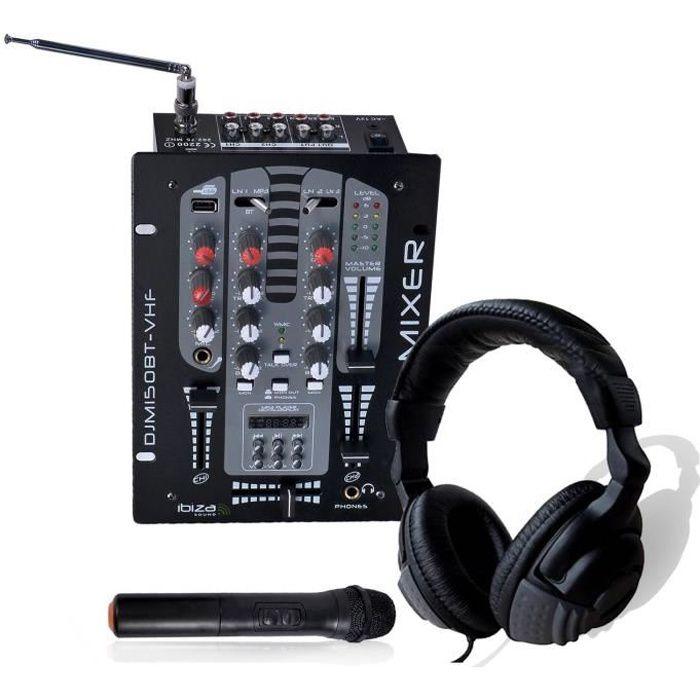 Casque DJ + Table de mixage 2 voies - 5 Canaux Micro VHF USB-BLUETOOTH - Ibiza Sound DJM150BT-VHF