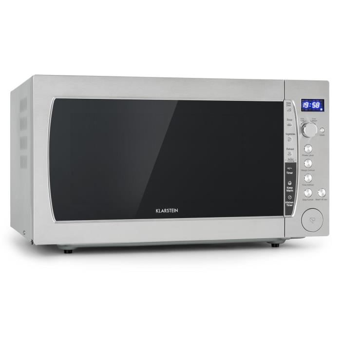 Klarstein CombiWave Four micro-ondes 60 litres 1200W - grill 1500W - 11 niveaux de puissance - Ecran LED - Inox
