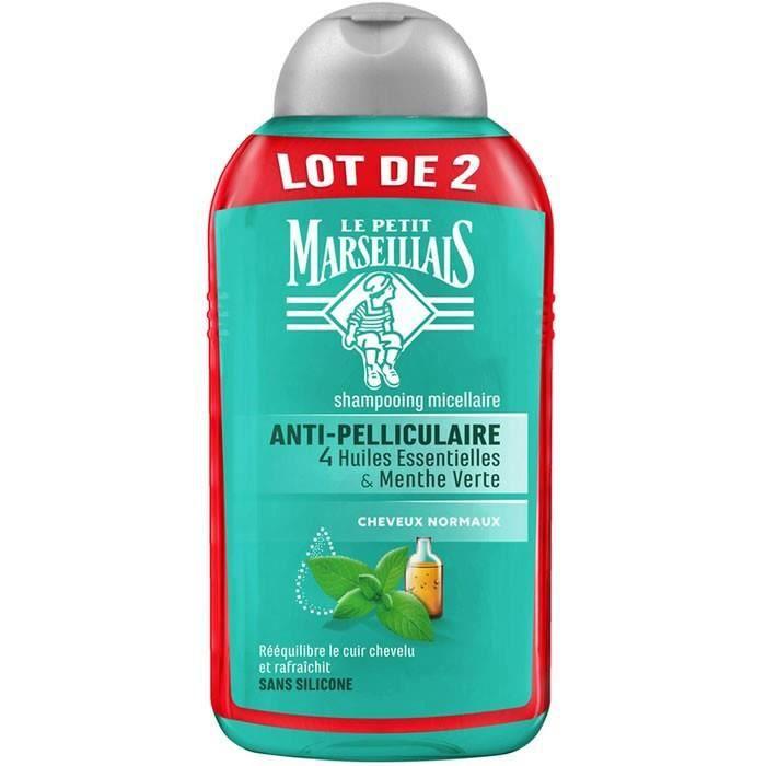 LOT DE 4 - LE PETIT MARSEILLAIS : Shampooing micellaire anti-pelliculaire à la menthe 2x250ml