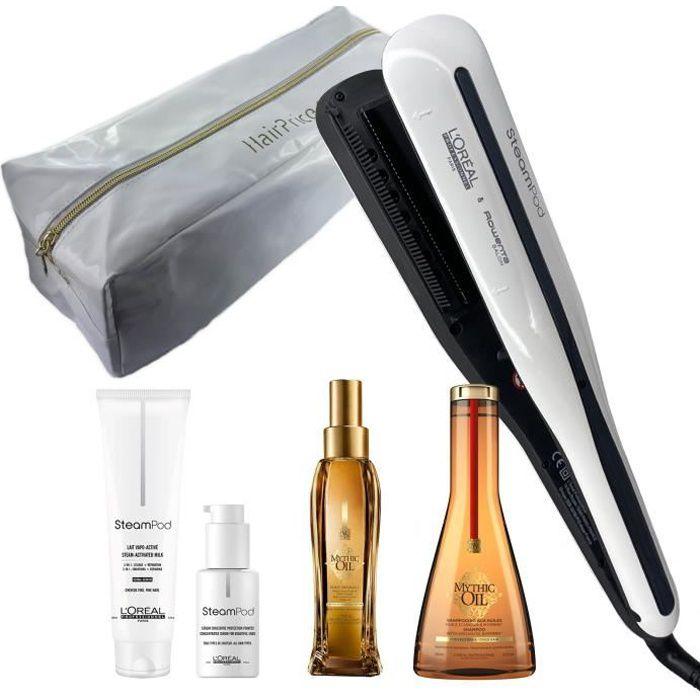 L'Oréal Pro Steampod 3.0 Lisseur + Lait Fins 150 ml + Sérum 50 ml + Huile Mythic Oil 100ml + Shampoing Mythic Oil 250ml + Trousse