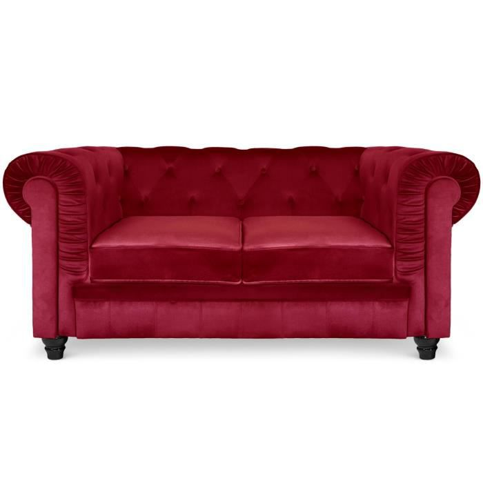 Grand canapé 2 places Chesterfield Velours Rouge