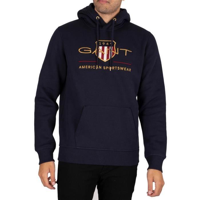 GANT Sweatshirt à capuche Archive Shield, Bleu, Homme