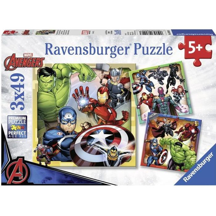 AVENGERS Puzzles 3x49 pièces - Les puissants Avengers - Ravensburger - Lot de puzzles enfant - Dès 5 ans