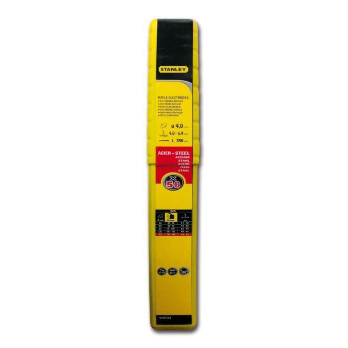 STANLEY 460840 Lot de 50 électrodes rutiles acier - Ø 4 mm - L 350 mm - Baguettes de soudure