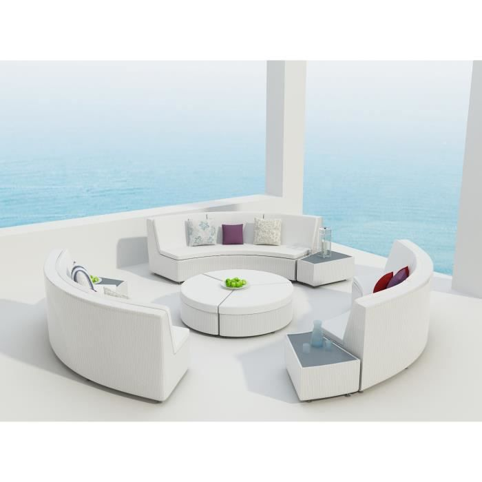 InterougeHome - Salon de Jardin RILASA Rond Modulable Coloris Blanc ...