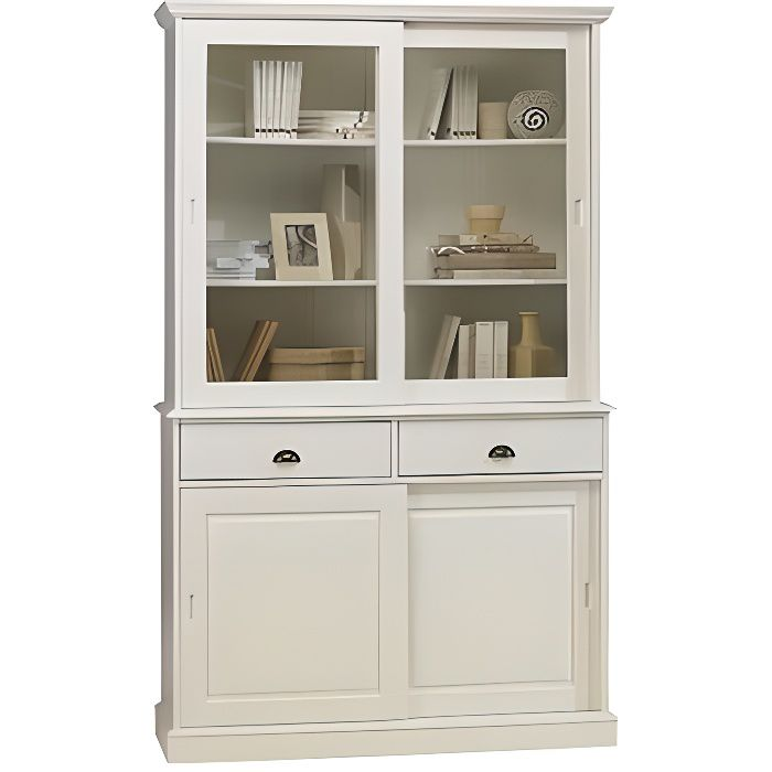 vaisselier blanc biblioth que blanche 4 porte achat vente vitrine argentier vaisselier. Black Bedroom Furniture Sets. Home Design Ideas